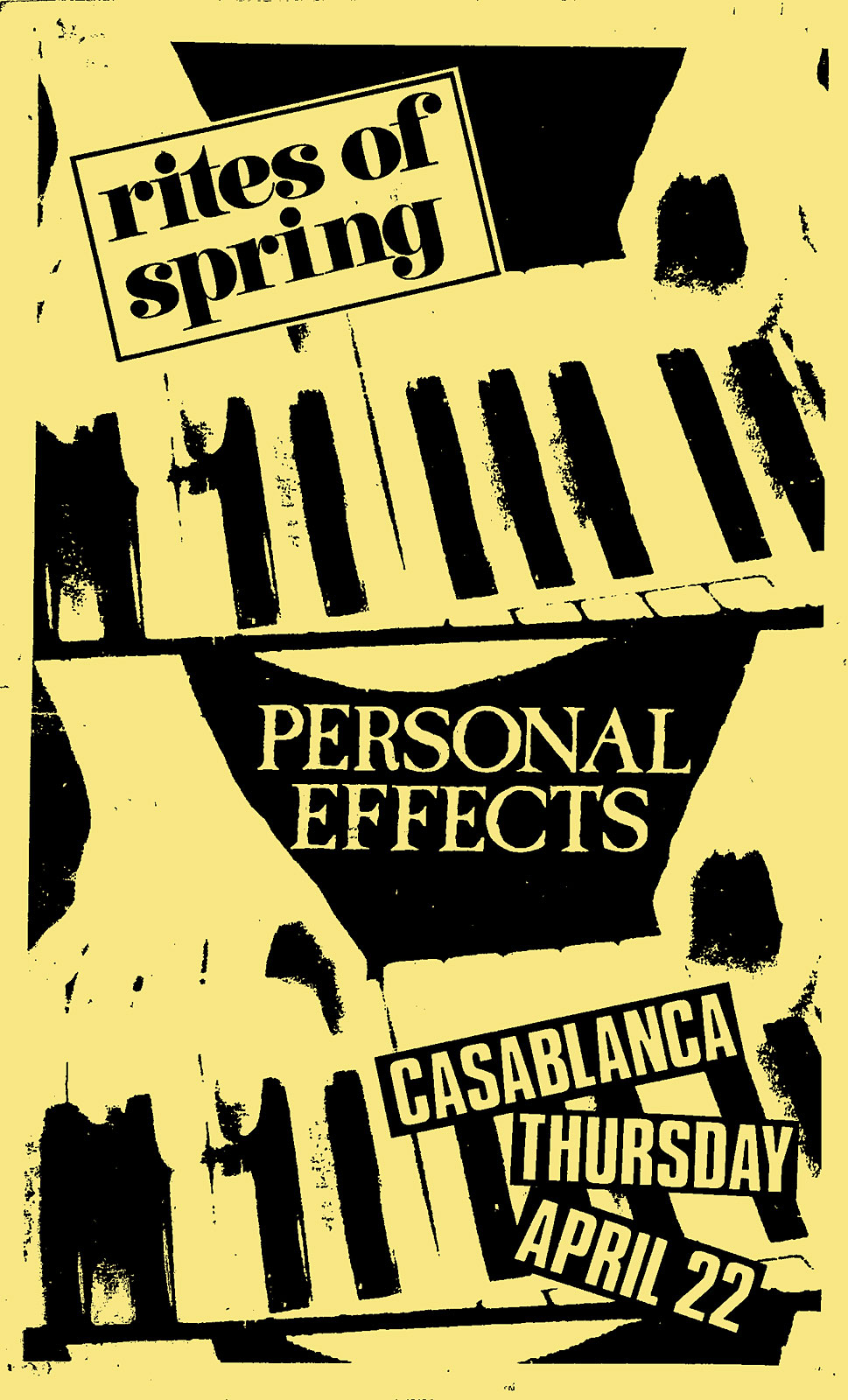 Poster for Personal Effects at Casablanca in Rochester, New York on 04.22.1982