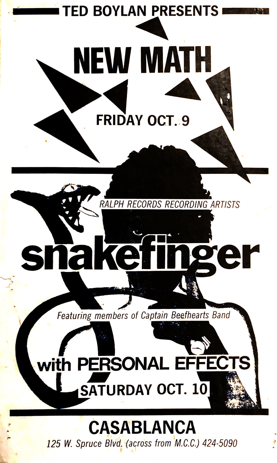 Poster for Snakefinger with Personal Effects at Casablanca in Rochester, New York on 10.12.1985. A Ted Boylan Production. New Math played the same club the night before.