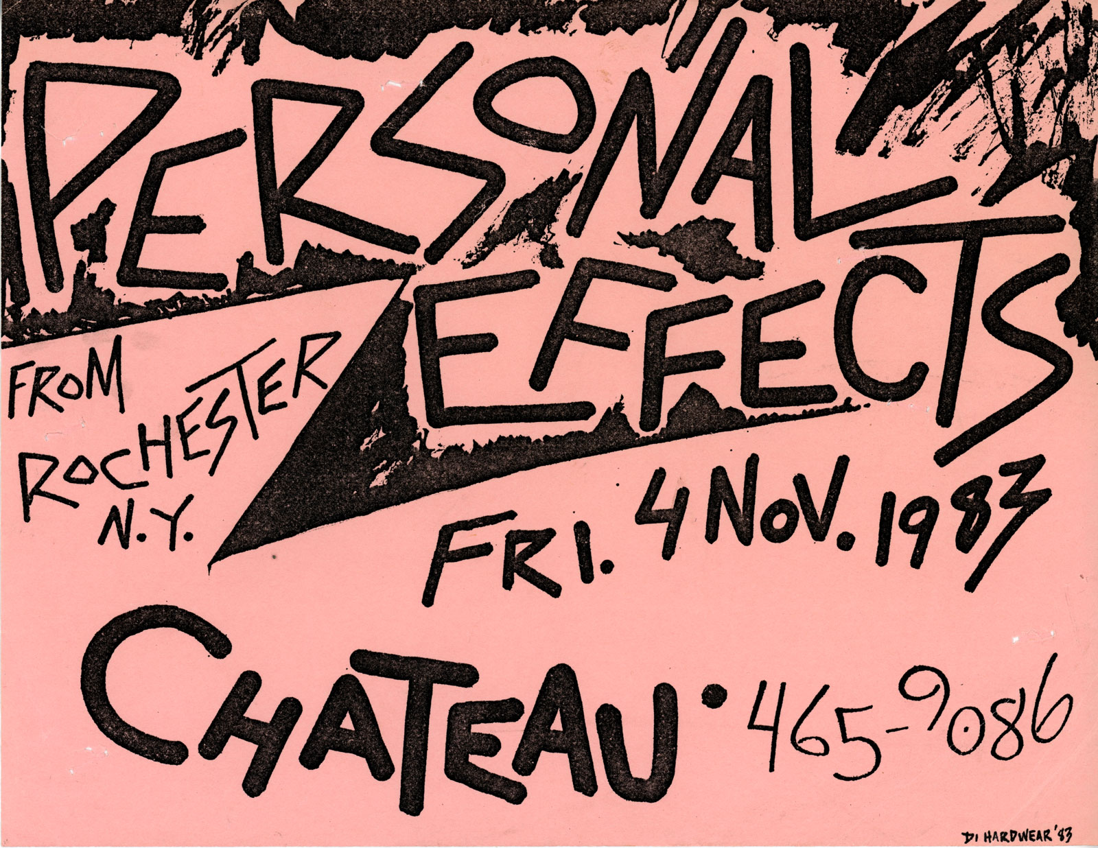 Poster for Personal Effects at The Chateau Lounge in Albany, New York 11.04.1983. Band also played a club called Duck Soup and a place on Lark Street in Albany.