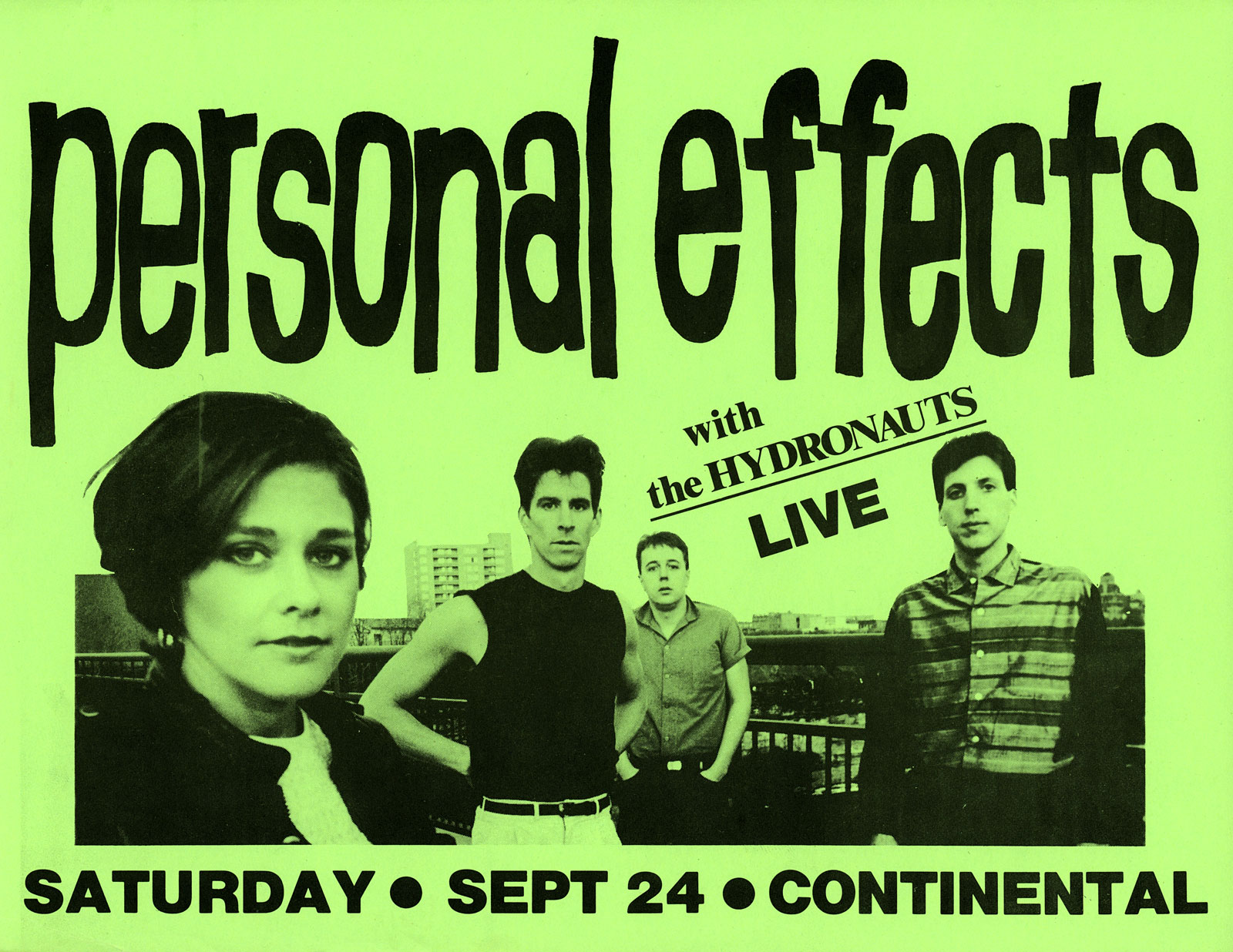 Poster for Personal Effects at The Continental in Buffalo New York with The Hydronauts on 09.24.1983