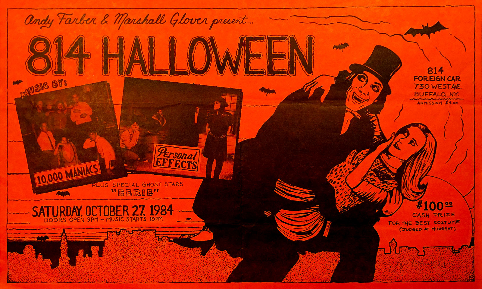 Poster for Halloween gig with Personal Effects and 10,000 Maniacs at Foreign Car Garage in Buffalo, New York on 10.27.1984