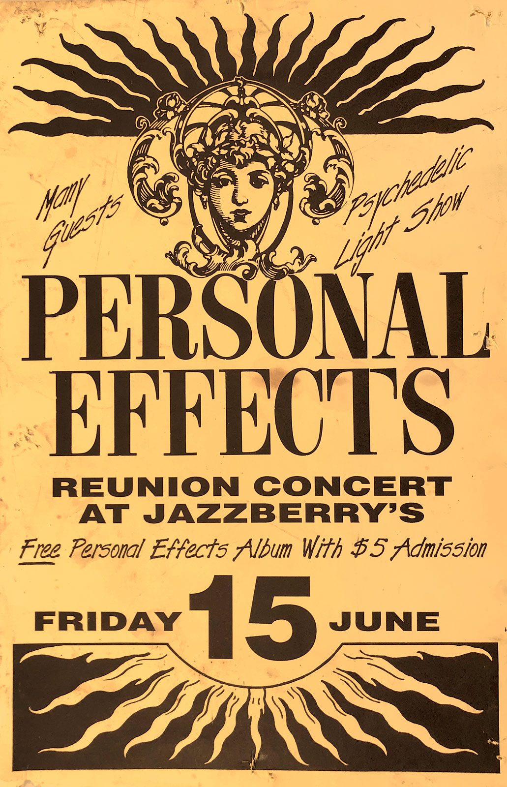 Poster for Personal Effects Reunion Concert at Jazzberry's in Rochester, New York on 06.15.1990