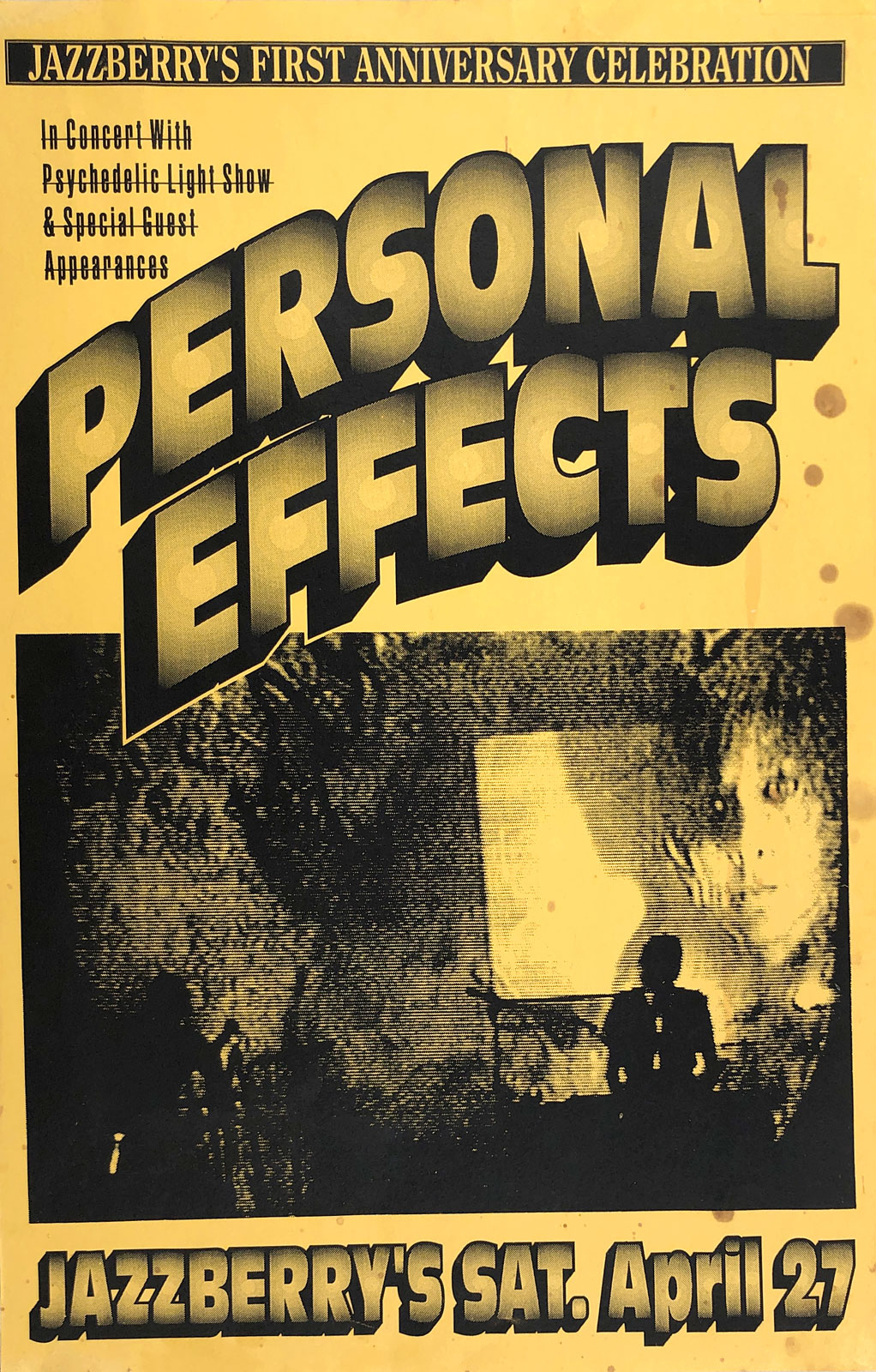 Poster for Personal Effects at Jazzberry's in Rochester, New York on 04.27.1991