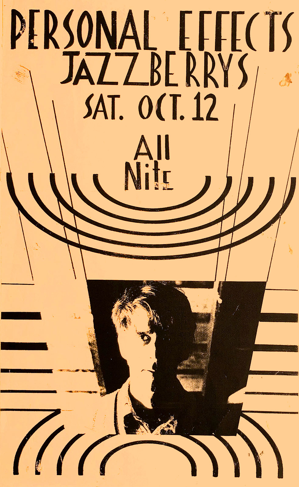 Poster for Personal Effects at Jazzberry's in Rochester, New York on 10.12.1985. Peggi Fournier designed this poster.