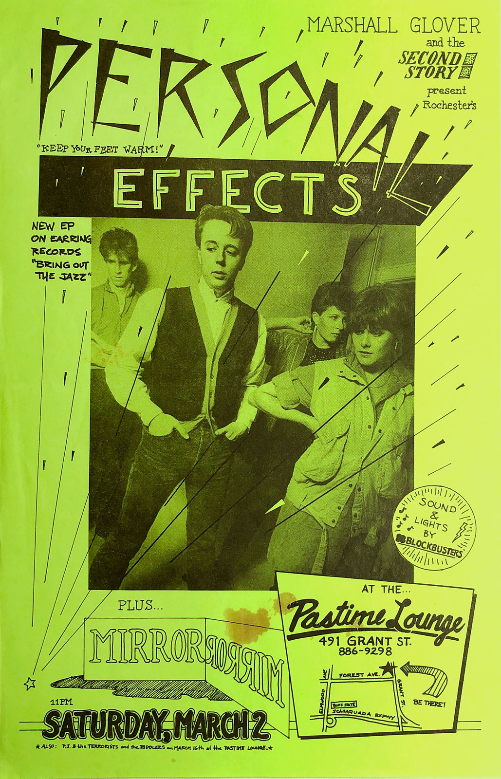 Poster for Personal Effects at the Pastime Lounge in Buffalo, New York on 03.02.1985