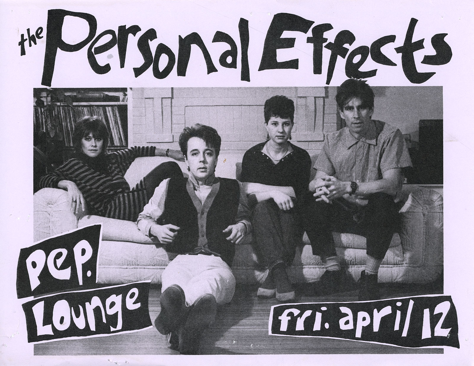 Poster for Personal Effects at Peppermint Lounge in New York City 04.12.1985