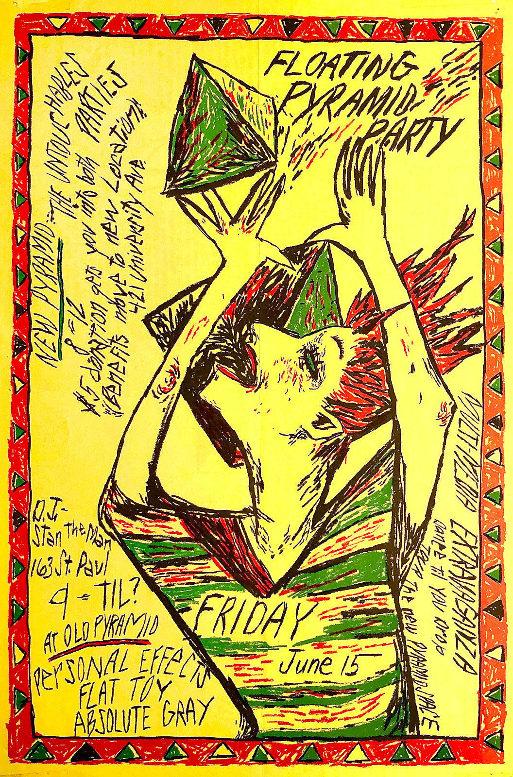 Poster for Personal Effects, Flat Toy and Absolute Grey at the Pyramid Art Center in Rochester, New York on 06.15.1984. Poster designed by Julianna Furlong Williams.