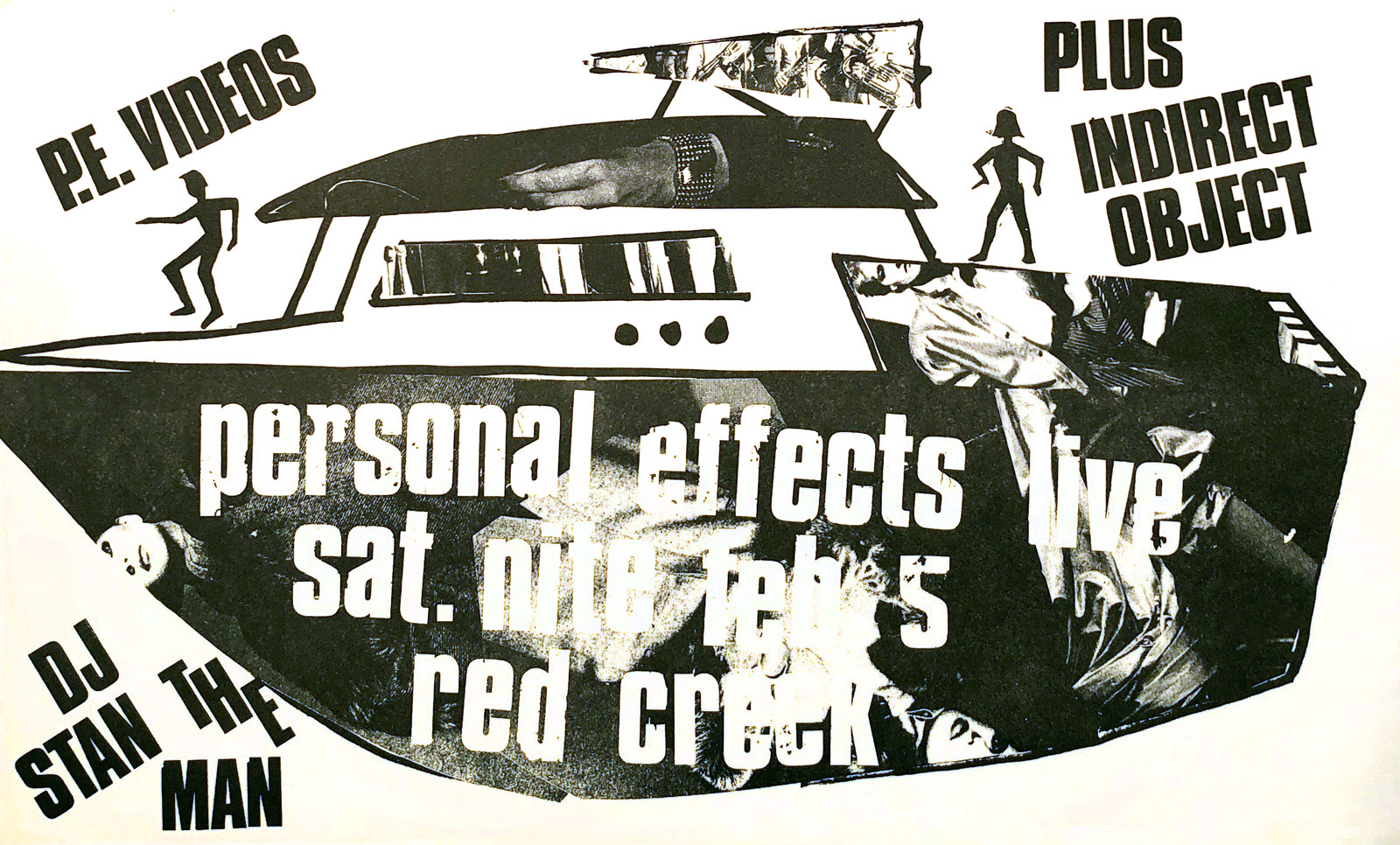 Poster for Personal Effects with Indirect Object at Red Creek in Rochester, New York on 02.05.1983. Indirect Object included future members of Squires of the Subterrain and The Hi Risers.