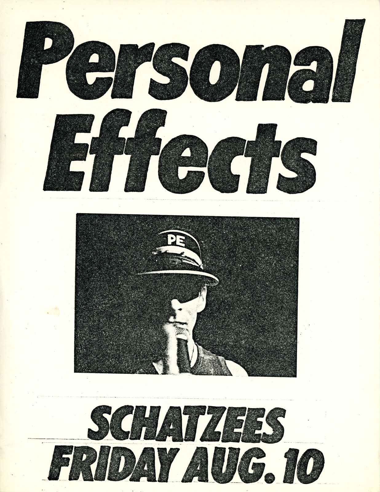 Poster for Personal Effects at Schatzee's in Rochester, New York 08.10.1984