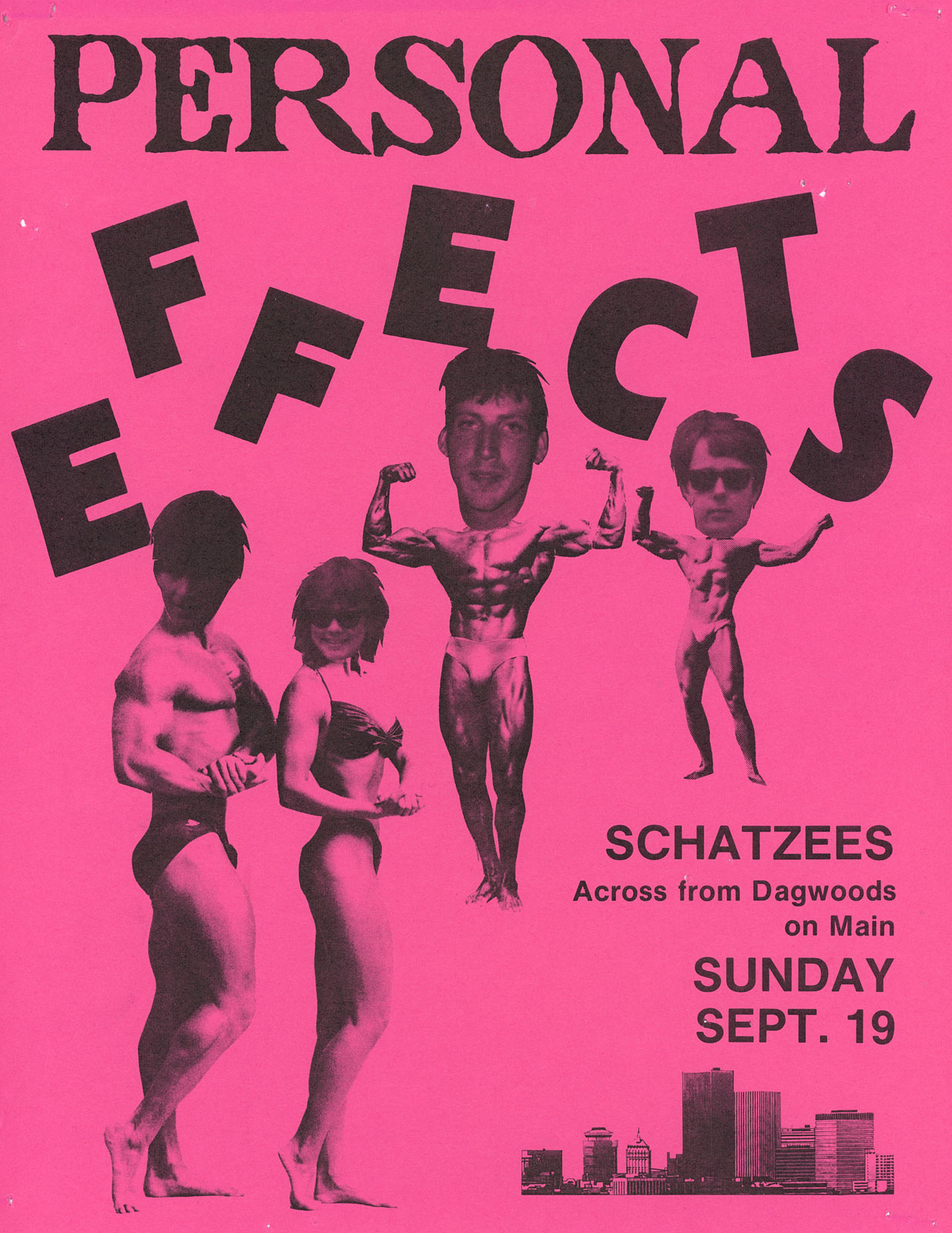 Poster for Personal Effects at Schatzee's in Rochester, New York 09.19.1982