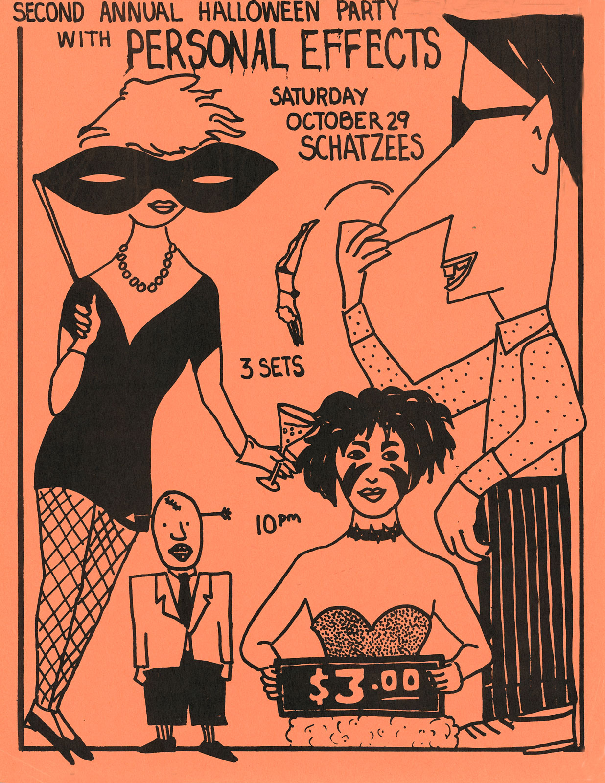 Poster for Personal Effects at Schatzees in Rochester, New York on Halloween 10.29.1983