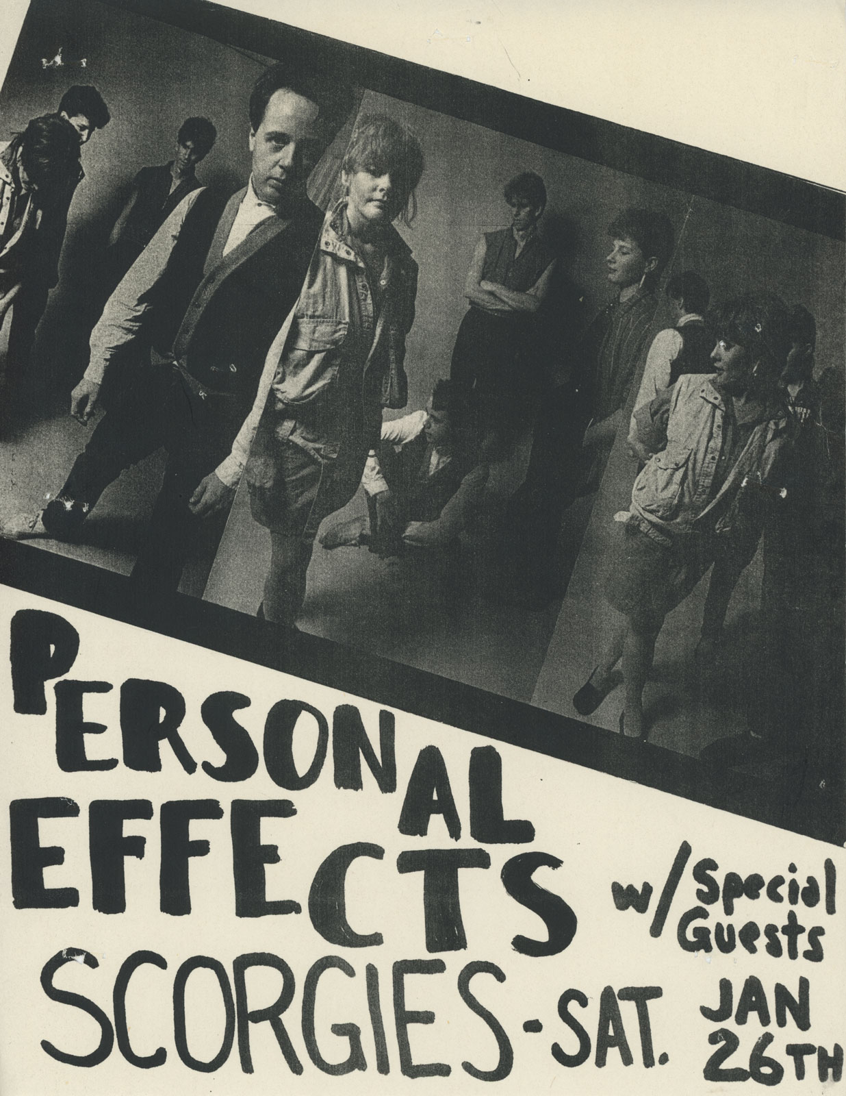 Poster for Personal Effects at Scorgies in Rochester, New York 01.26.1985. Bob Martin designed this poster.