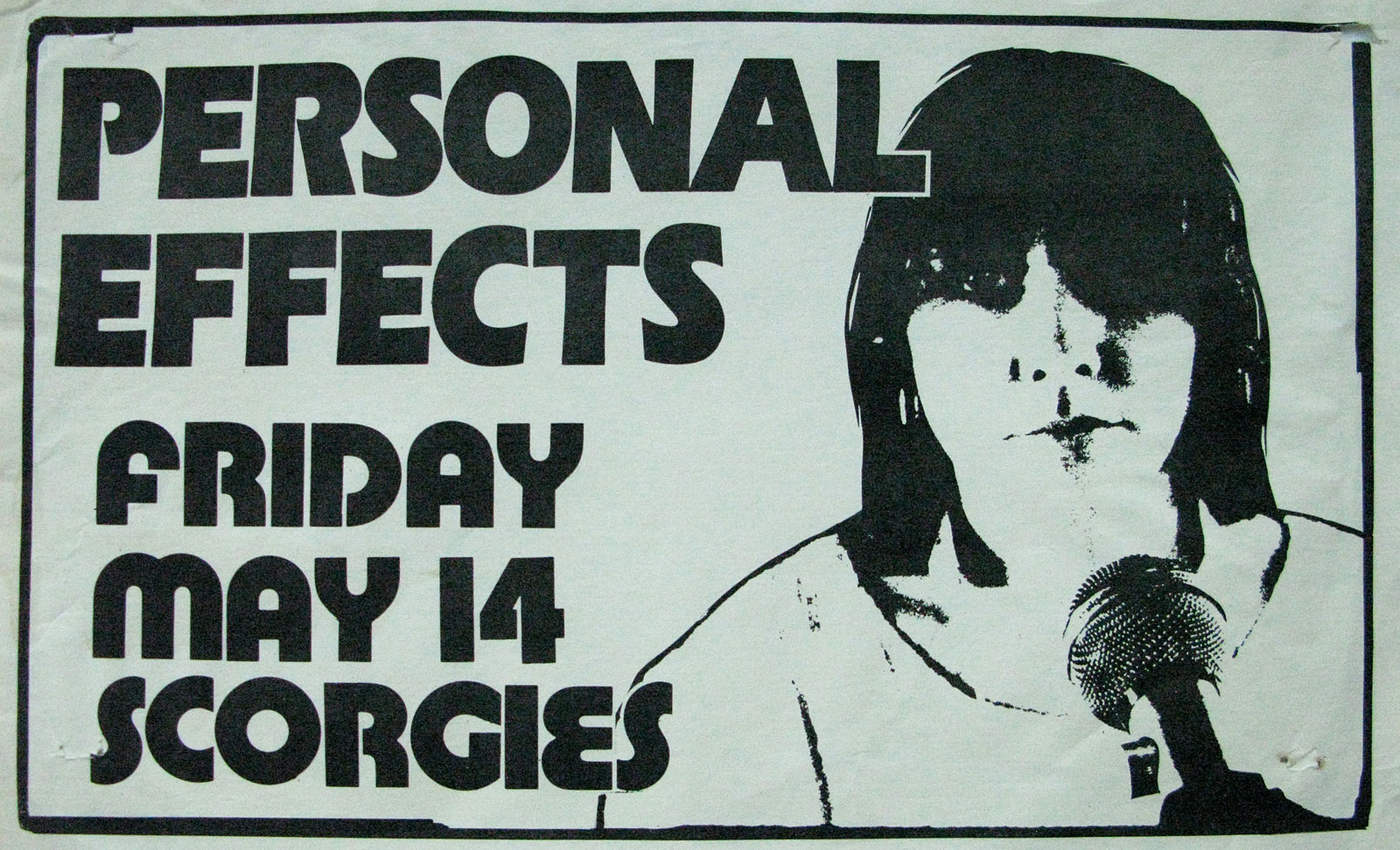 Poster for Personal Effects at Scorgies in Rochester, New York on 05.14.1982
