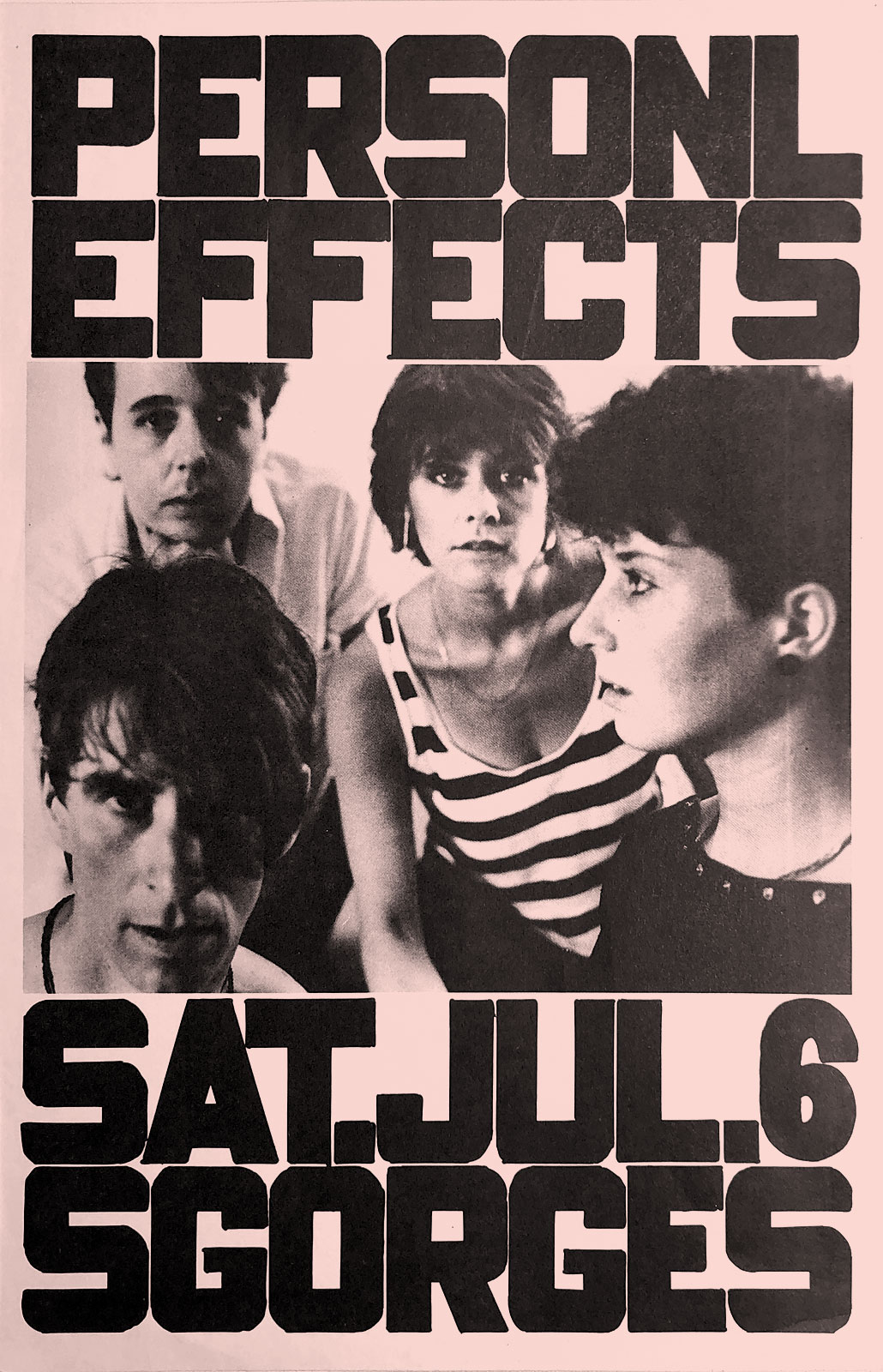Poster for Personal Effects at Scorgies in Rochester, New York on 07.06.1985