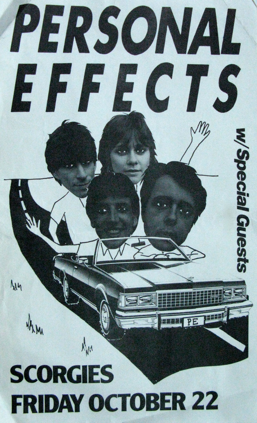 Poster for Personal Effects at Scorgies in Rochester, New York on 10.22.1982
