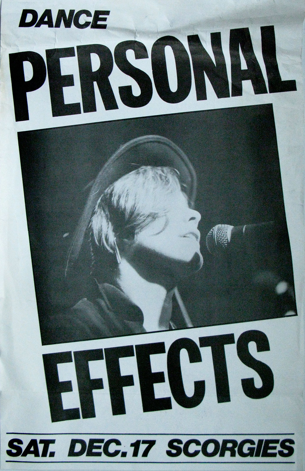 Poster for Personal Effects at Scorgies in Rochester, New York 12.17.1983