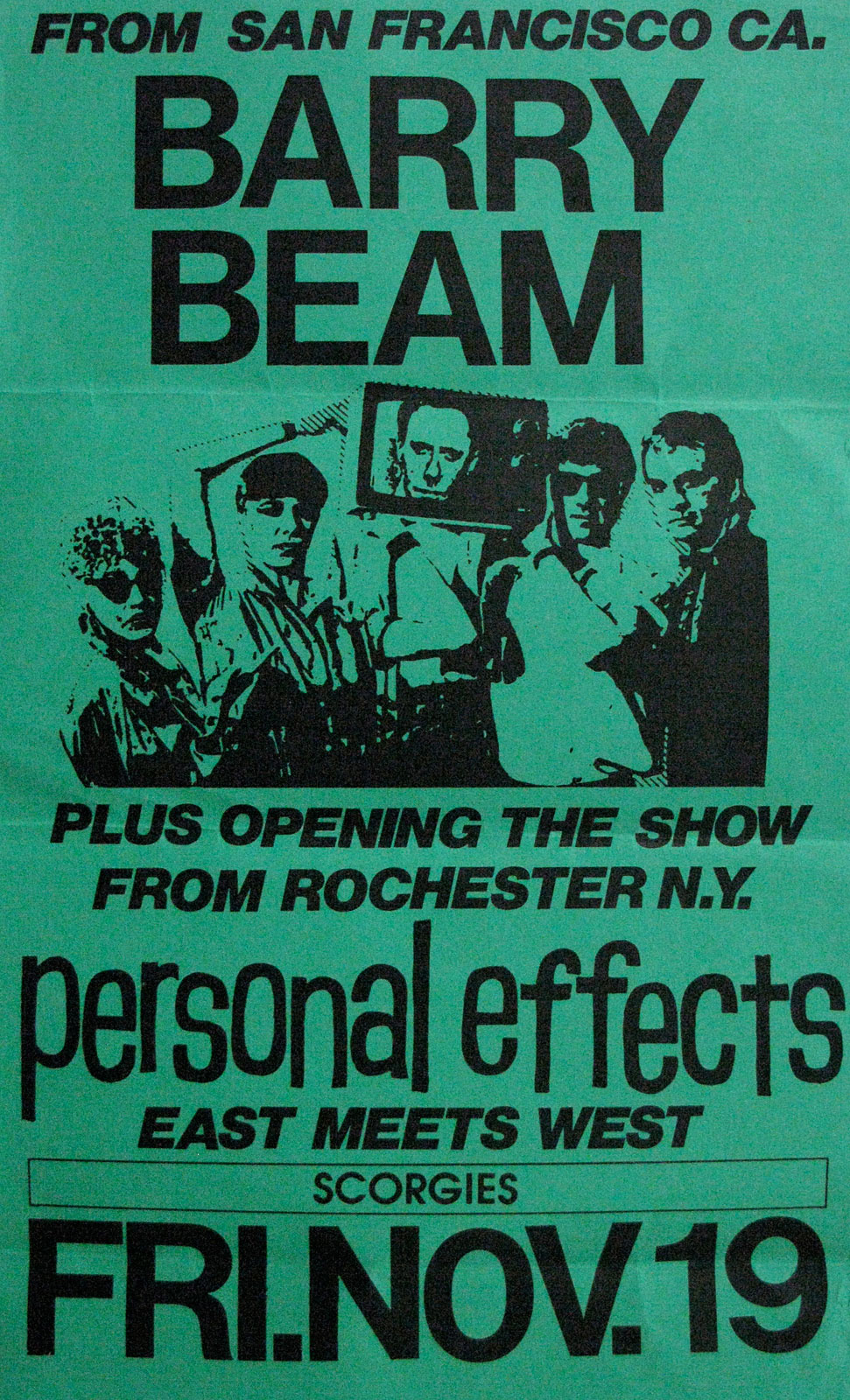 Poster for Personal Effects with Barry Beam at Scorgie's in Rochester, New York 11.19.1982