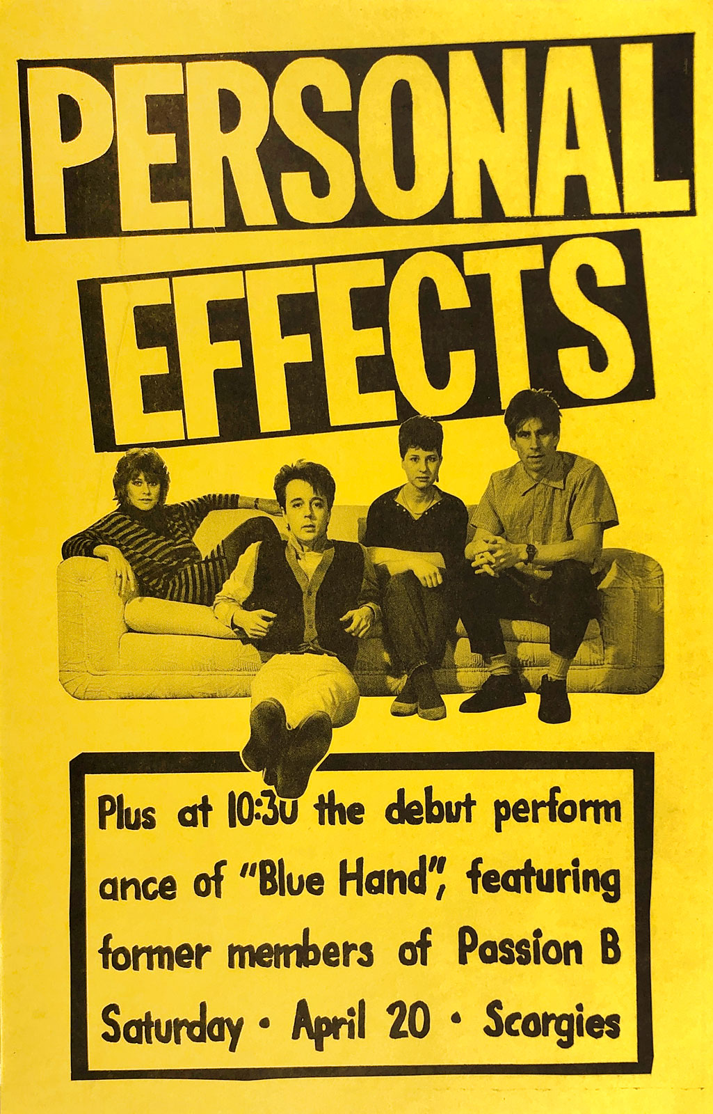 Poster for Personal Effects with Blue Hand at Jazzberry's in Rochester, New York on 04.20.1985. This was the debut performance of Blue Hand featuring Brian Horton and former members of Passion B.