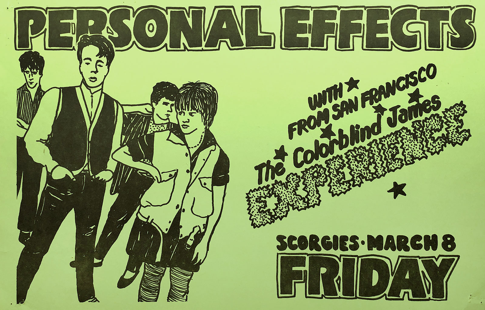 Poster for Personal Effects with Colorblind James Experience at Scorgie'sin Rochester, New York on 03.08.1985