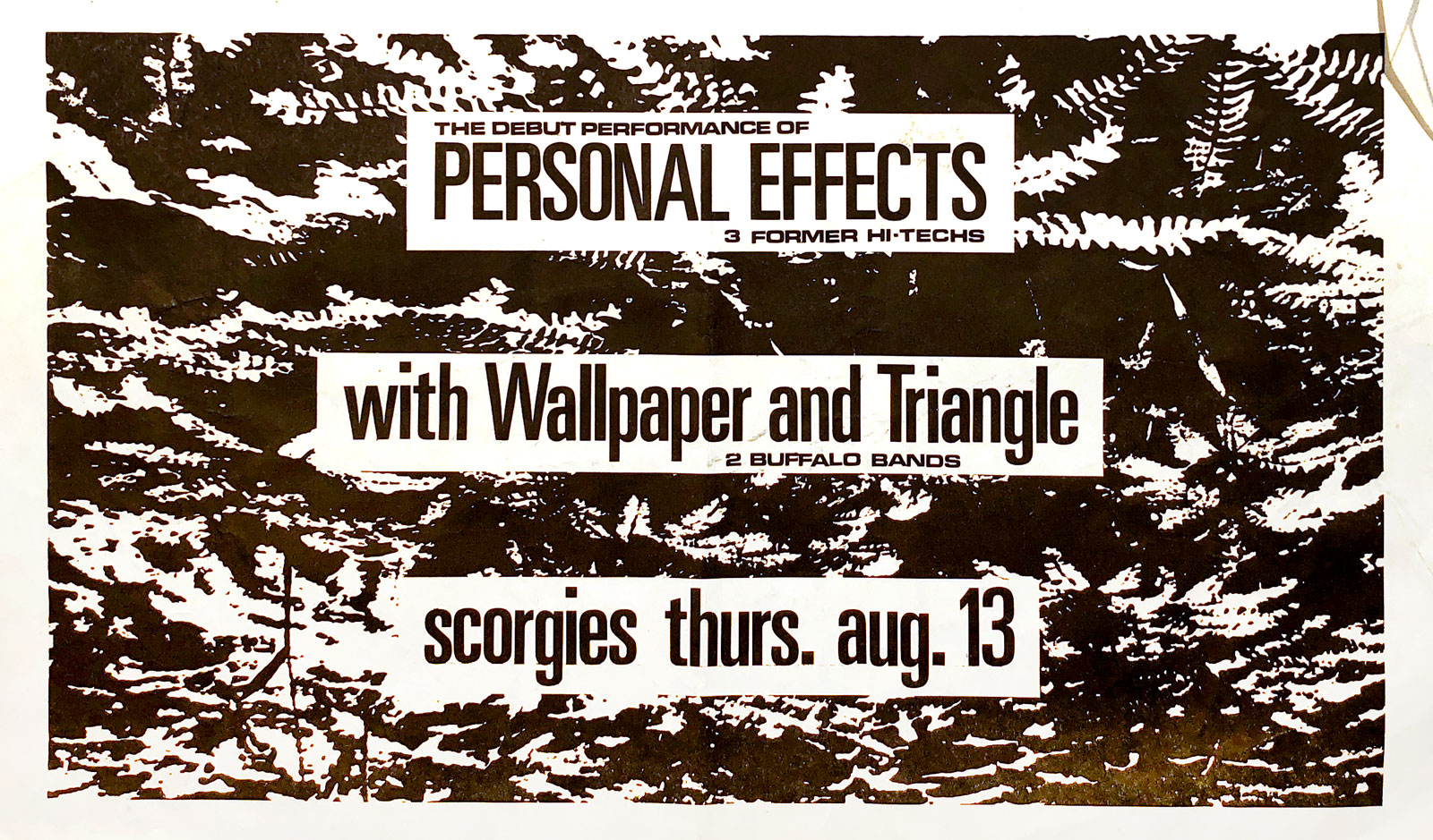 Poster for Personal Effects with Wallpaper and Triangle at Scorgie's in Rochester, New York on 08.13.1981