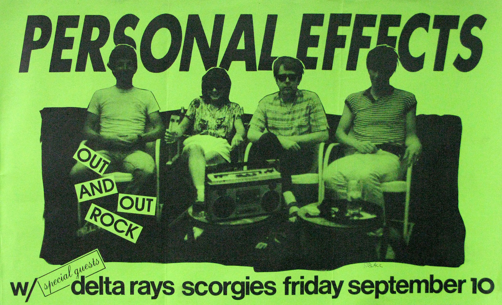 Poster for Personal Effects with the Delta Rays at Scorgie's in Rochester, New York on 09.10.1982