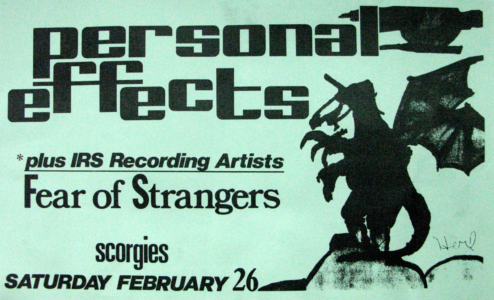Poster for Personal Effects with Fear of Strangers at Scorgies in Rochester, New York 02.26.1983