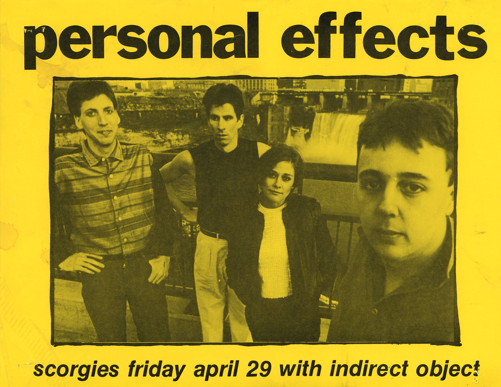 Poster for Personal Effects with Indirect Object at Scorgie's 04.29.1983. Indirect Object featured future members of Squires of the Subterrain and the Hi Risers.