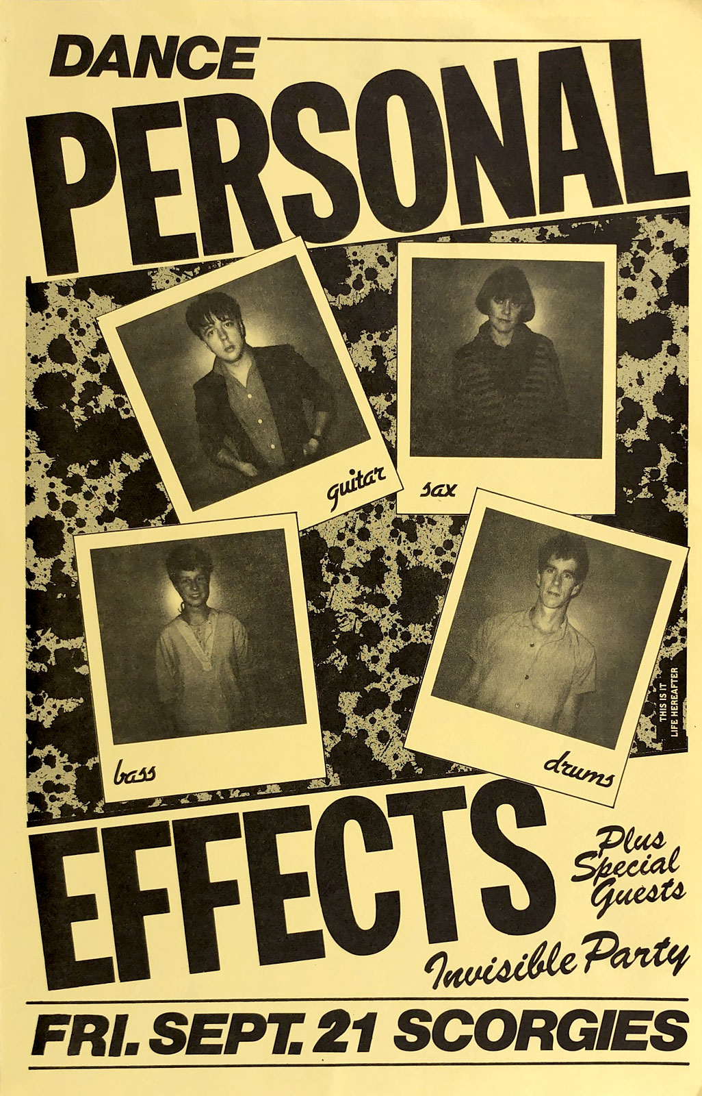 Poster for Personal Effects at Scorgie's in Rochester, New York on 09.21.1984