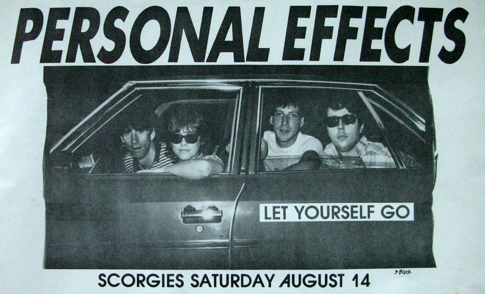 Poster for Personal Effects at Scorgies in Rochester, New York 08.14.1982. Photo by Steve Black.