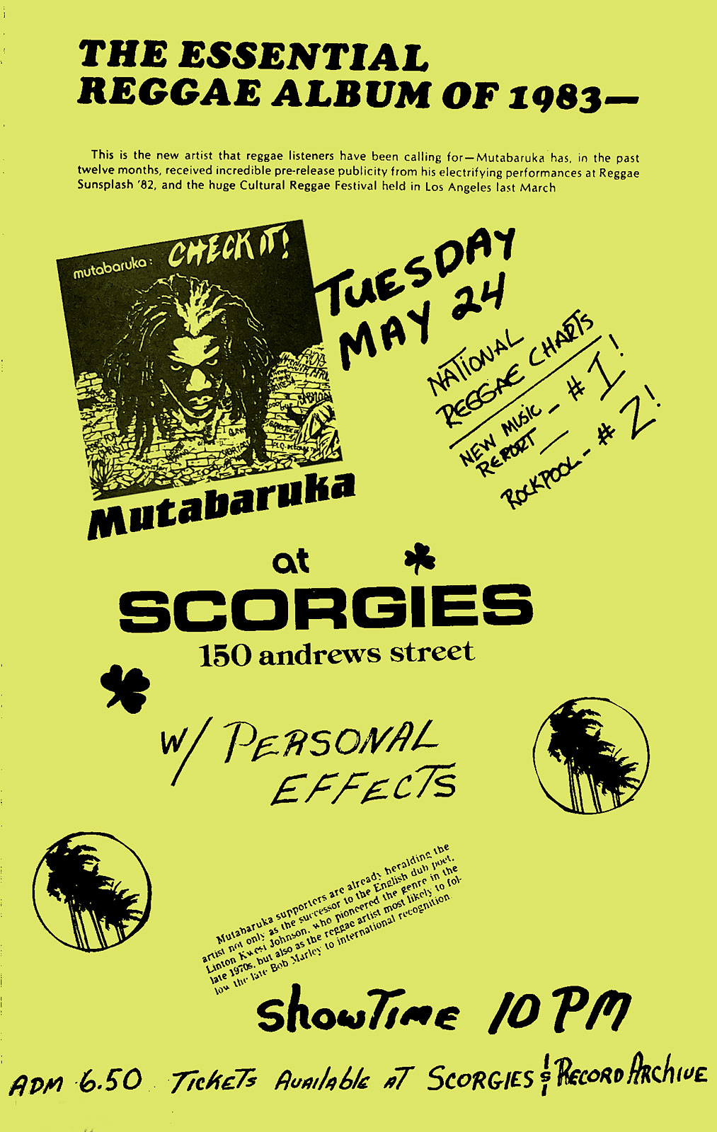 Poster for Mutabaruka and Personal Effects at Scorgie's in Rochester, New York on 05.24.1983. No idea who designed this poster but it was a sensational gig.