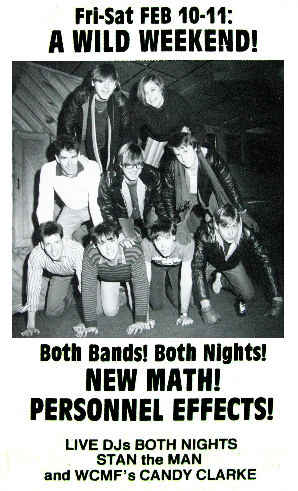 Poster for Personal Effects New Math at Scorgies in Rochester, New York on Friday 02.10.1984 and Saturday 02.11.1984