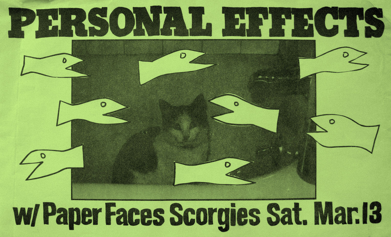 Poster for Personal Effects with Paper Faces at Scorgie's in Rochester, New York on Saturday 03.13.1982