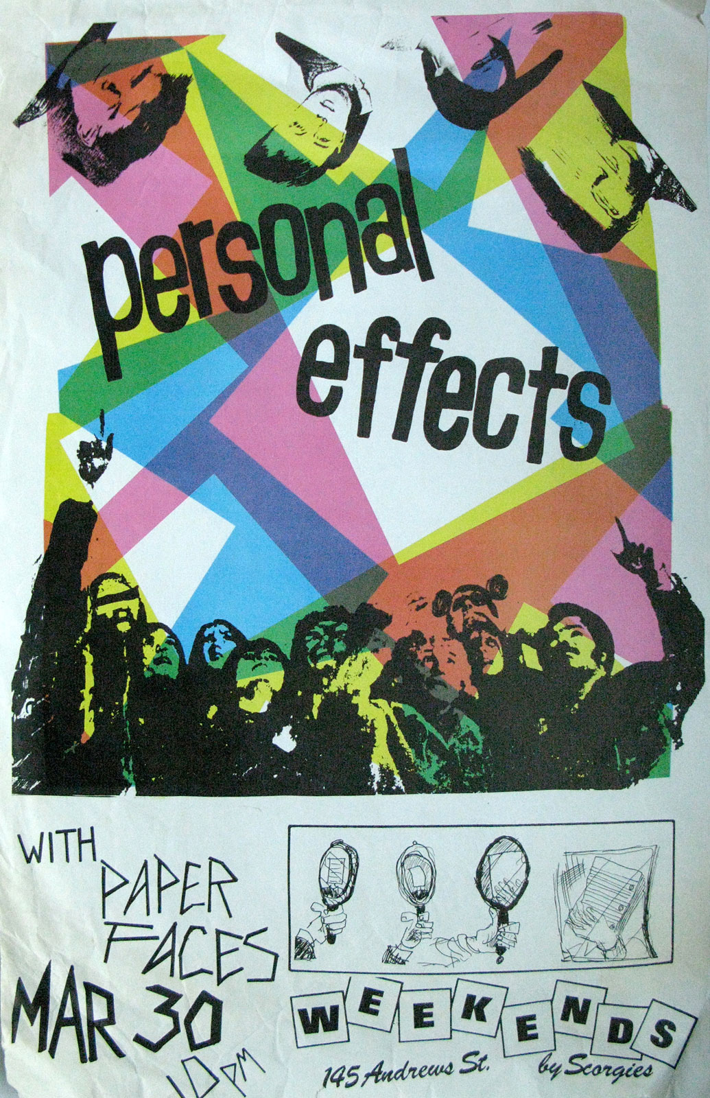 Poster for Personal Effects with Paper Faces at Scorgie's in Rochester, New York on 03.30.1984. Chris Schepp designed this poster and printed it at Midtown Printing.