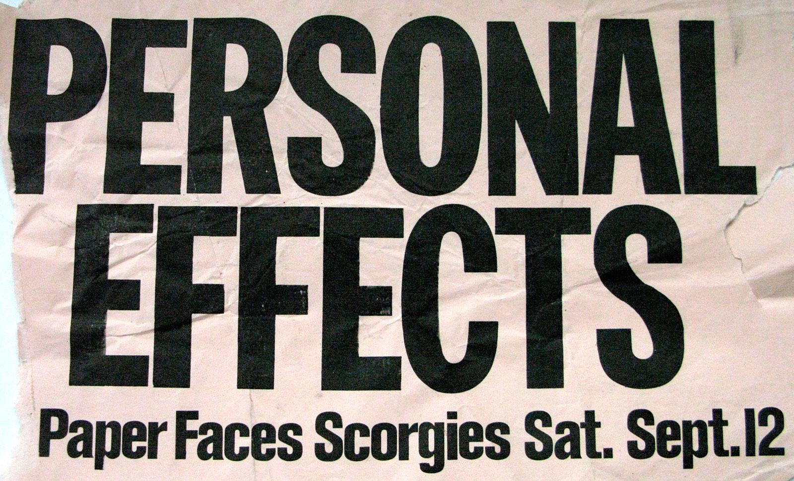 Poster for Personal Effects with Paper Faces at Scorgie's in Rochester, New York on Saturday 09.12.1981