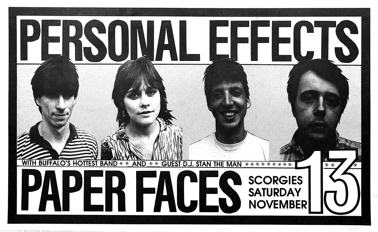 Poster for Personal Effects with Paper Faces at Scorgie's in Rochester, New York on 11.13.1983