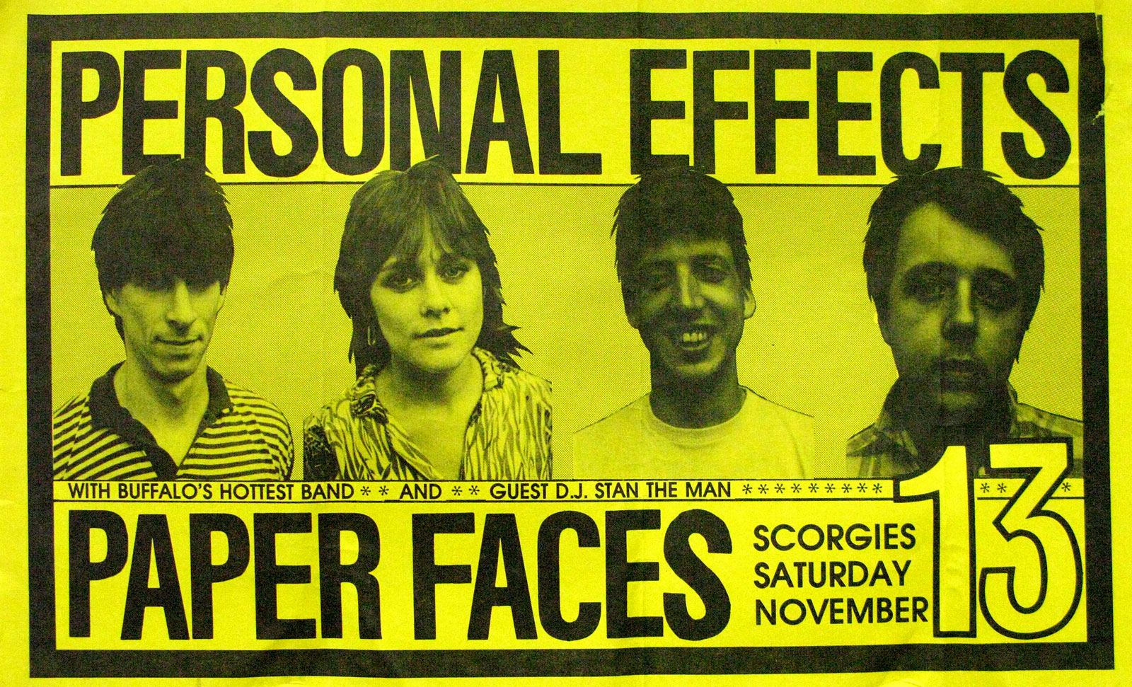 Poster for Personal Effects with Paper Faces at Scorgie's in Rochester, New York on Saturday 11.13.1982