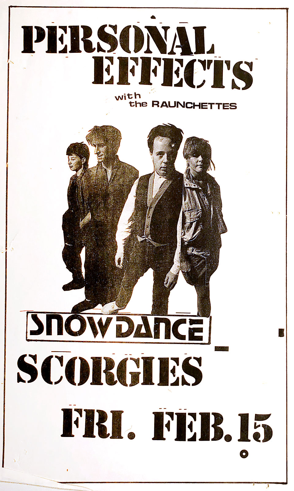 Poster for Personal Effects with The Raunchettes at Scorgie's in Rochester, New York on 02.15.1985