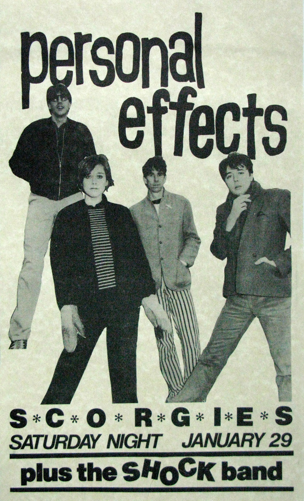 Poster for Personal Effects with the Shock Band at Scorgie's in Rochester, New York 01.29.1983