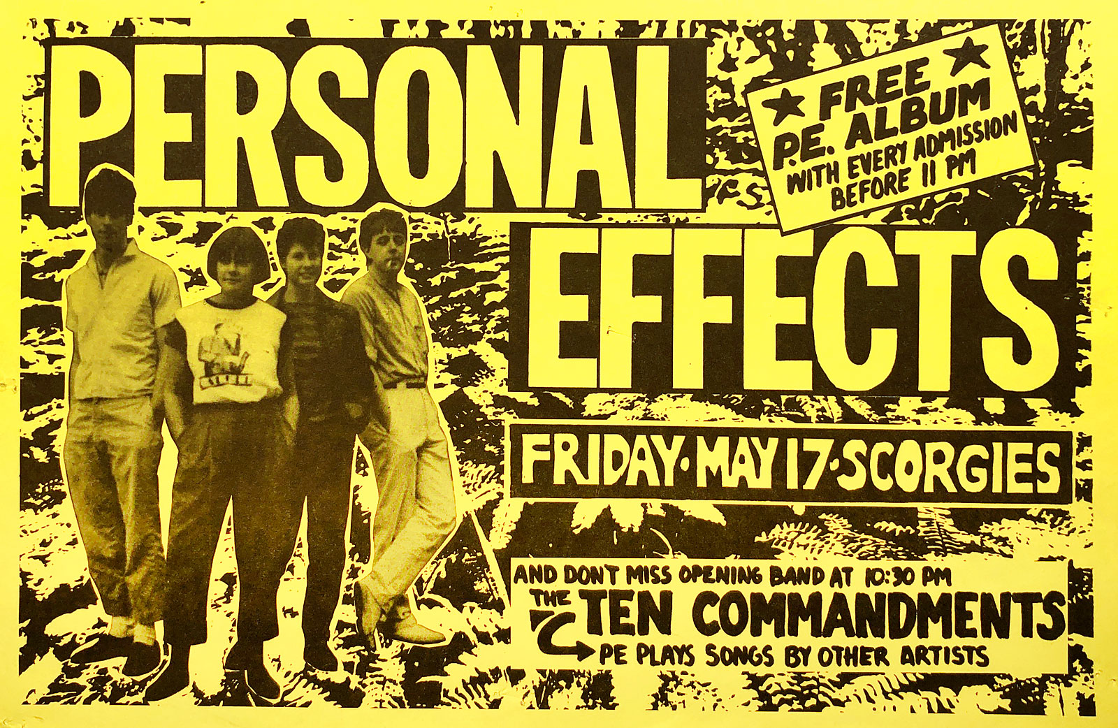 Poster for Personal Effects with the Ten Commandments at Scorgies in Rochester, New York on 05.17.1985. The 10 Commandments was Personal Effects doing all cover songs.
