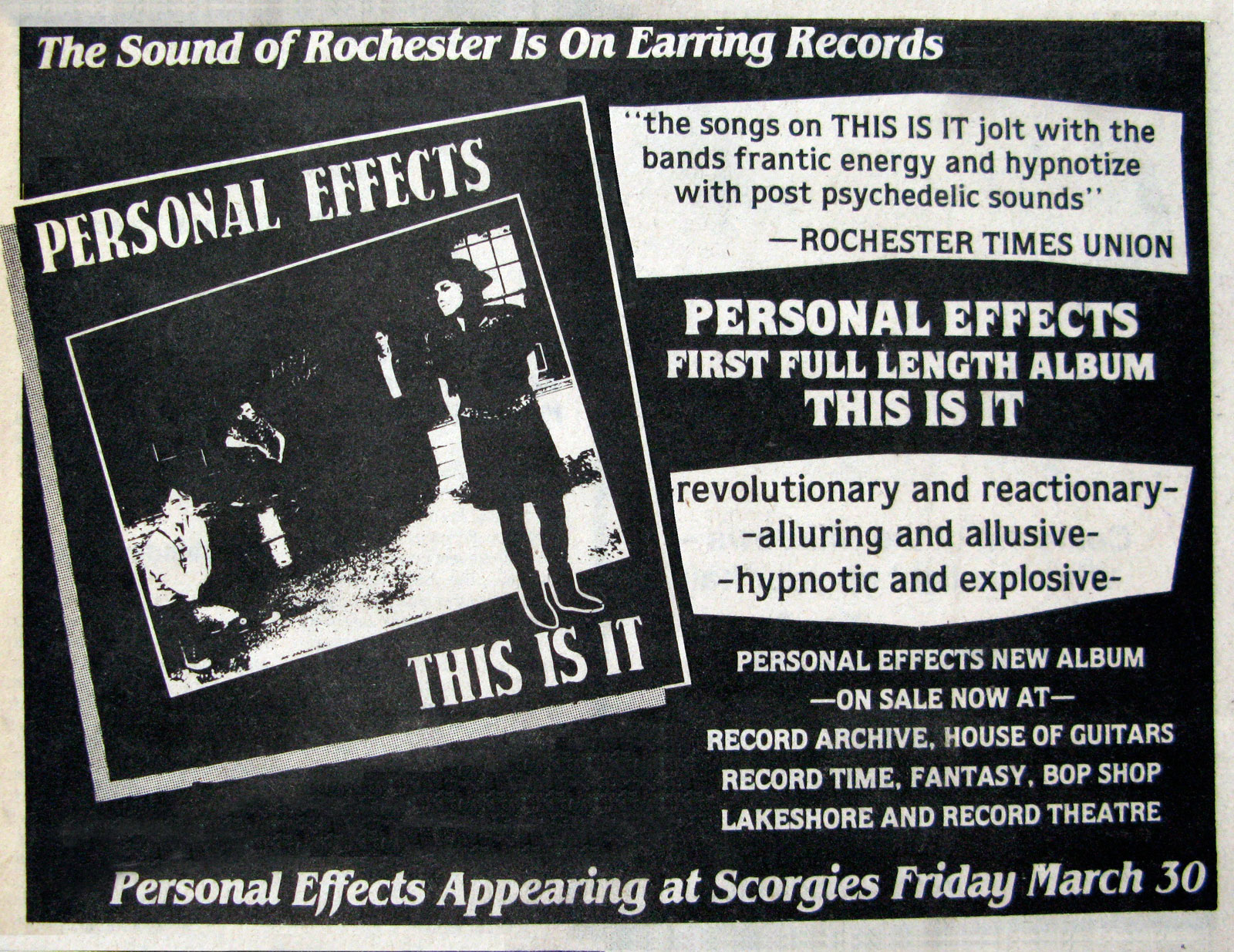 Poster for Personal Effects at Scorgies in Rochester, New York 03.30.1984