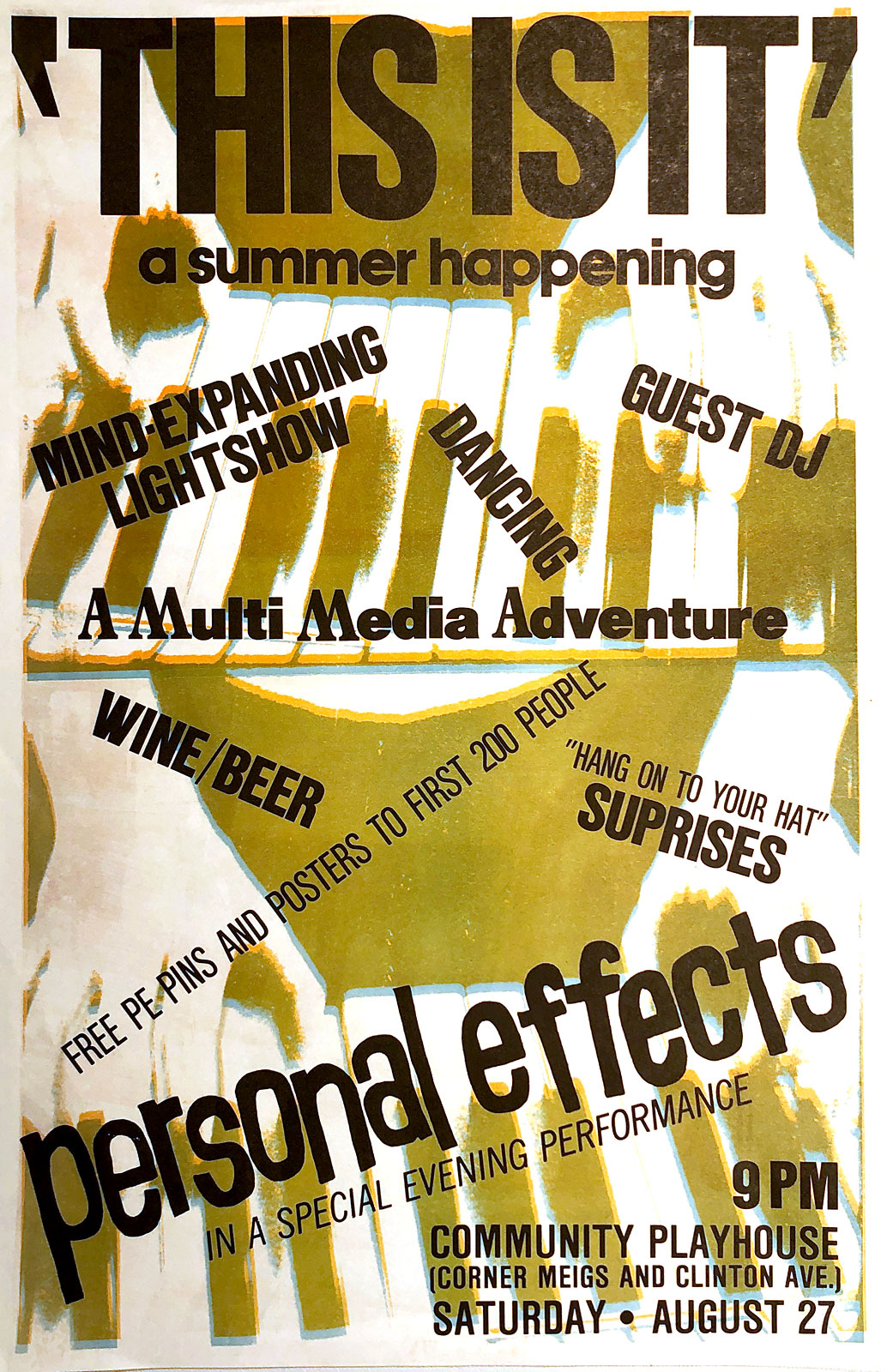 Poster for Personal Effects multi-media show at Community Playhouse, now Swillburgers, in Rochester, New York 08.27.1983