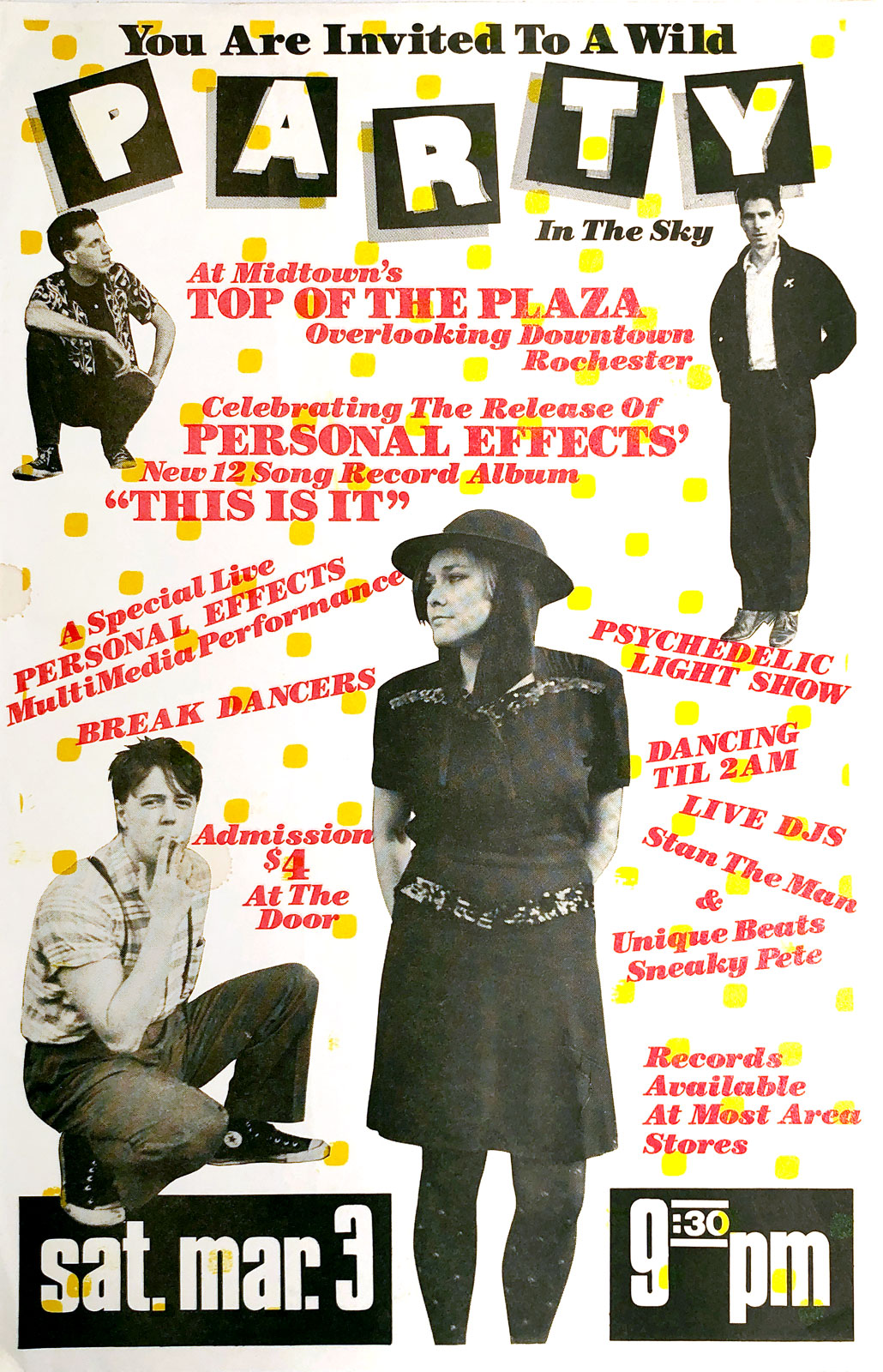 "Poster for Personal Effects second gig at the Top of the Plaza in Rochester, New York on 03.03.1984. This show was a record release party for the album ""This Is It"" on Earring Records."