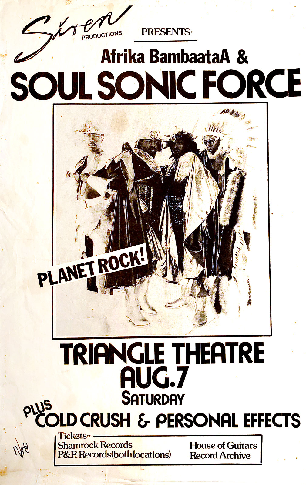 Poster for Soul Sonic Force, Personal Effects and Clod Crush at the Triangle Theater in Rochester, New York on 08.07.1982