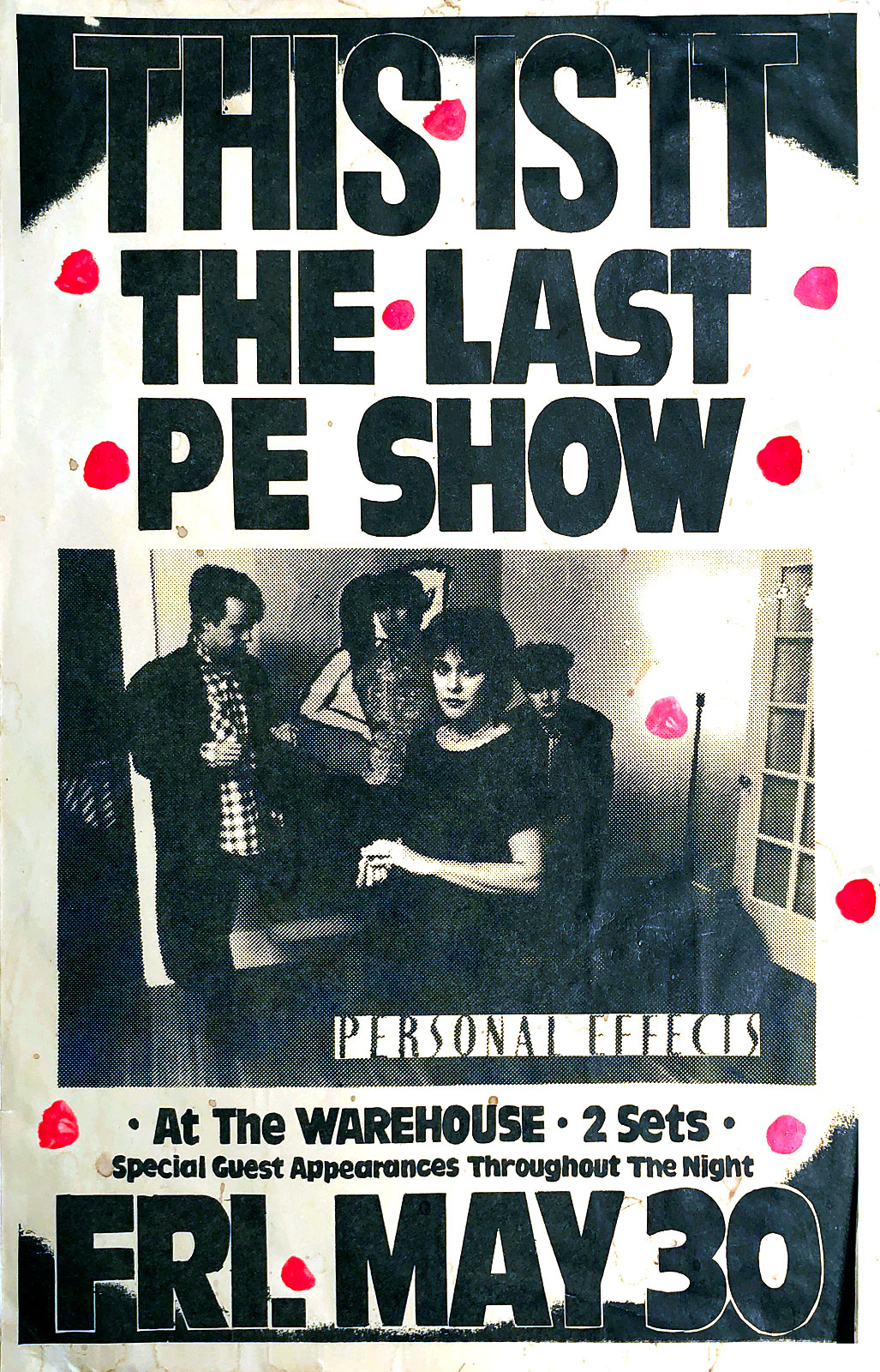 Poster for Personal Effects with Virgin Headset at The Warehouse in Rochester, New York on 053086. Billed as the last Personal Effects show the band reuntited to play the Planetarium gigs in 1987 and also played a few reunion shows.
