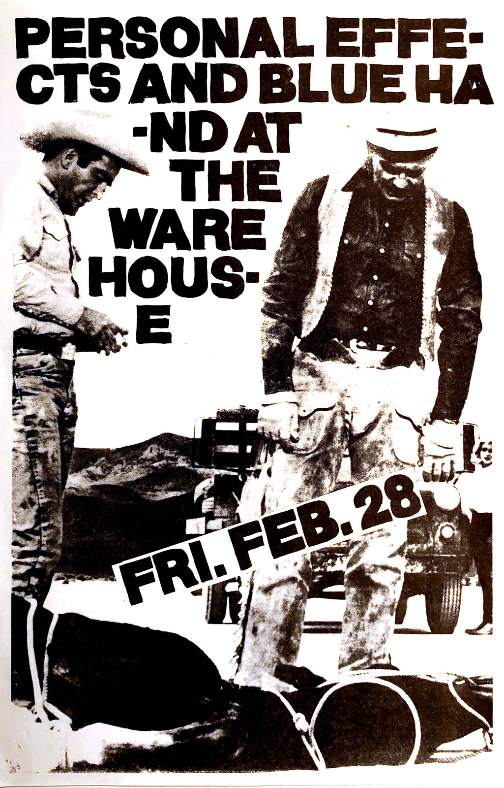 Poster for Personal Effects with Blue Hand at the Warehouse in Rochester, New York on 02.28.1986