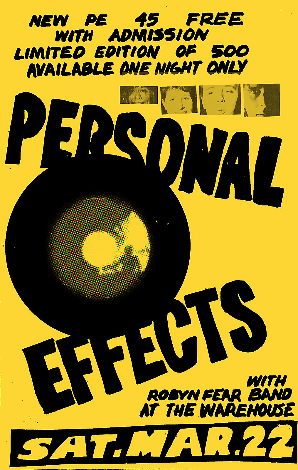 Poster for Personal Effects with Robyn Fear at The Warehouse in Rochester, New York on 03.22.1986