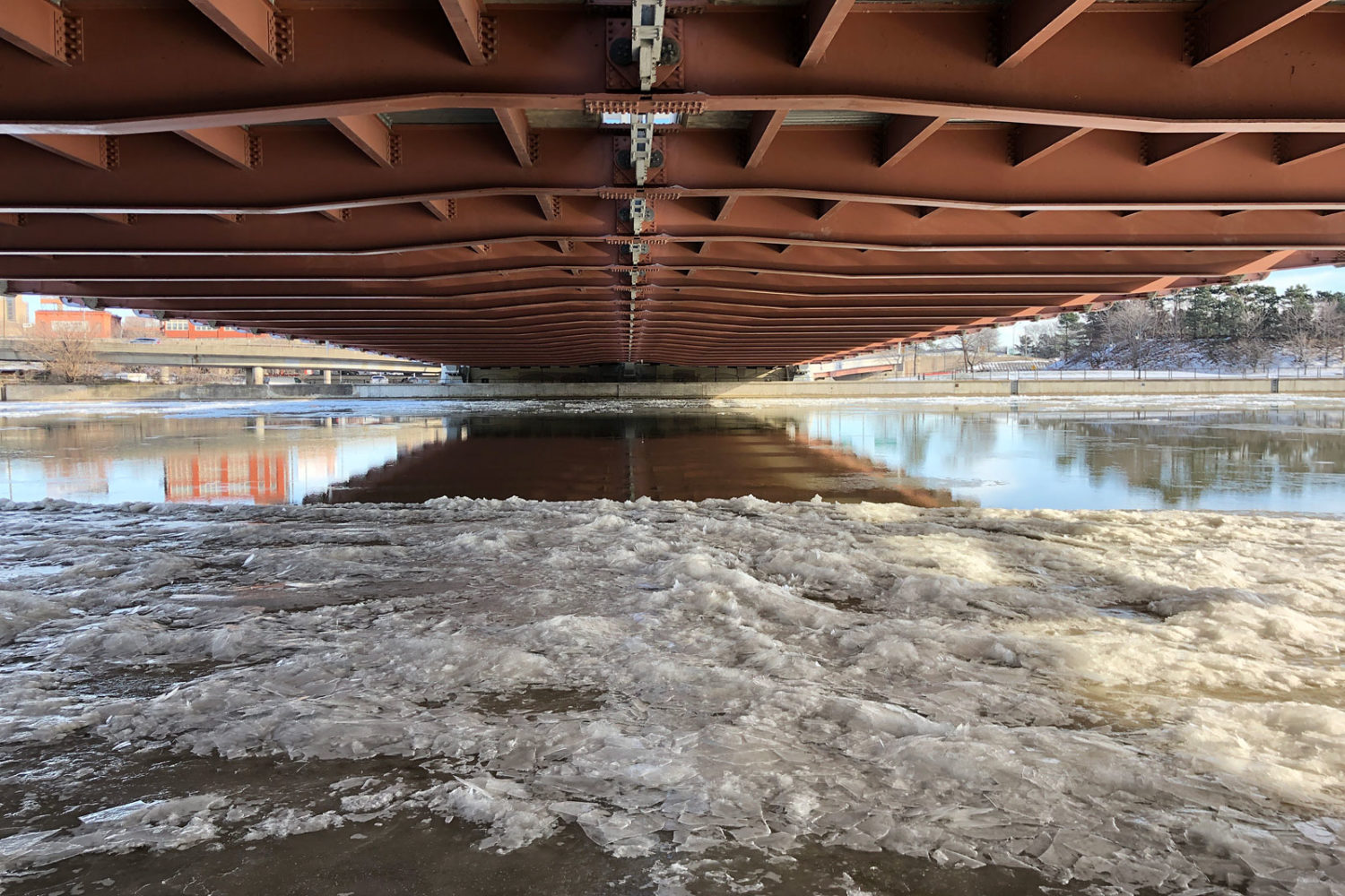 Underside of the Susan B. Anthony Frederick Douglas Bridge in Rochester, New York