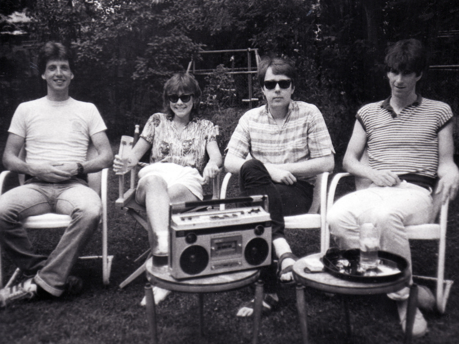 Promo shot of Personal Effects 1983. Bernie Heveron, Peggi Fournier, Bob Martin and Paul Dodd.