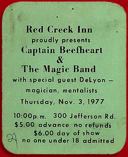 Five dollar ticket for Captain Beefheart & The Magic Band at Red Creek Inn in Rochester, New York 1977