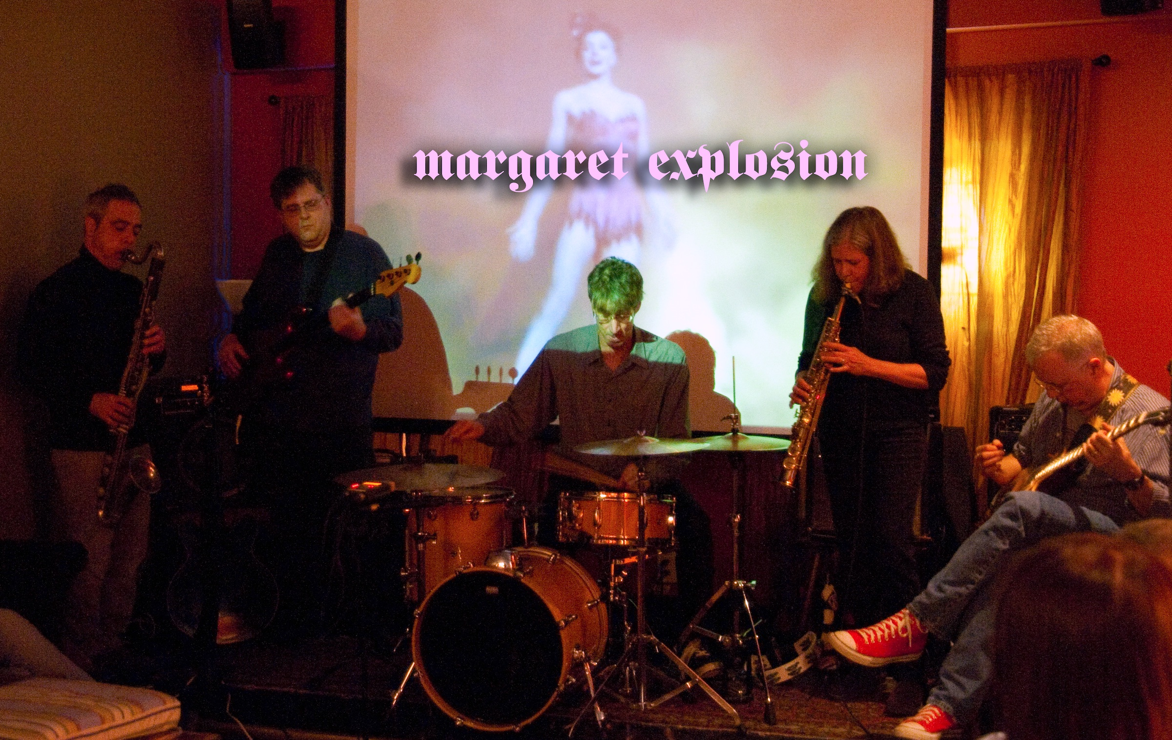 Margaret Explosion playing upstairs at Abilene with Jack Schaefer on bass clarinet. Photo by Brian Peterson.